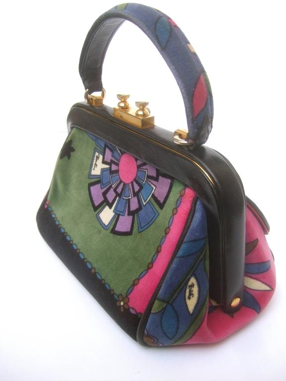 Emilio Pucci Rare Velvet Leather Trim Handbag ca 1970 For Sale 2