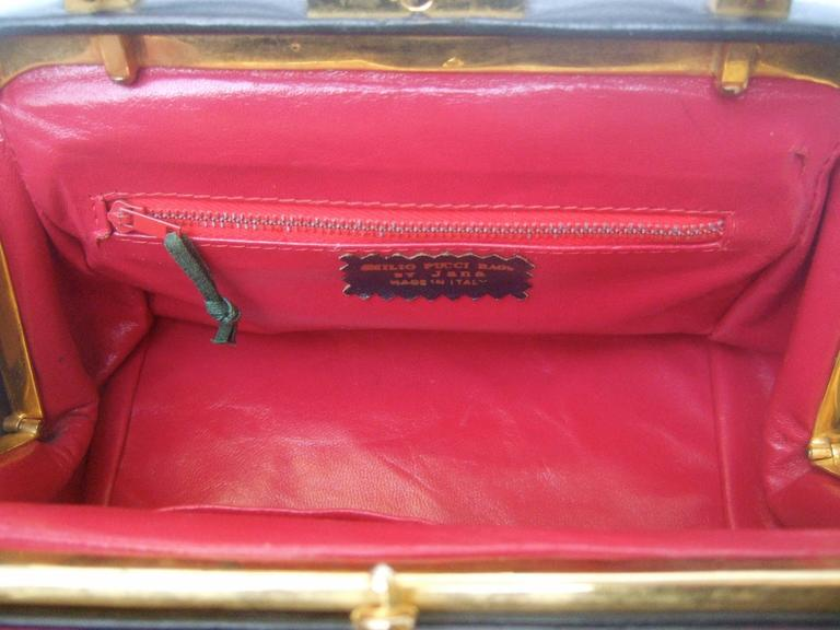 Emilio Pucci Rare Velvet Leather Trim Handbag ca 1970 For Sale 5