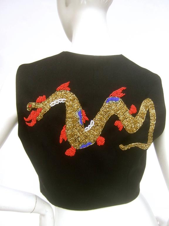 Dolce and Gabbana Exotic Glass Beaded Dragon Vest Size 42  In Excellent Condition For Sale In Santa Barbara, CA
