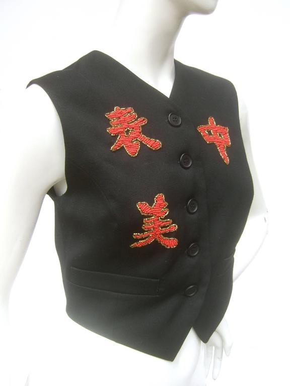 Dolce and Gabbana Exotic Glass Beaded Dragon Vest Size 42  For Sale 2