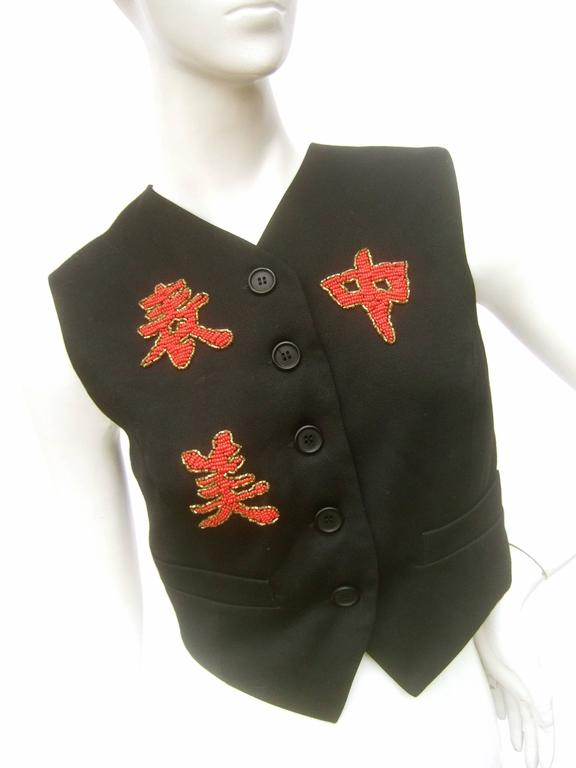 Dolce and Gabbana Exotic Glass Beaded Dragon Vest Size 42  For Sale 4