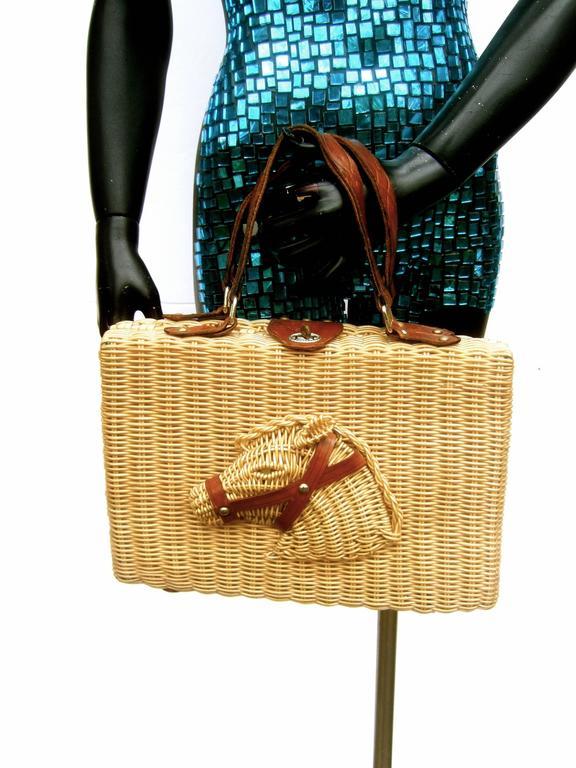 Unique Wicker Horse Head Leather Trim Handbag Ca 1960 At