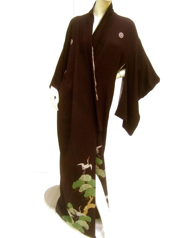 Exotic Japanese Black Crepe Kimono Ca 1940s At 1stdibs