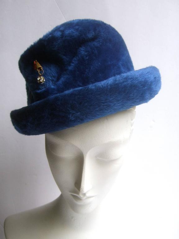 Women's Schiaparelli Paris Fuzzy Blue Wool Hat ca 1960 For Sale