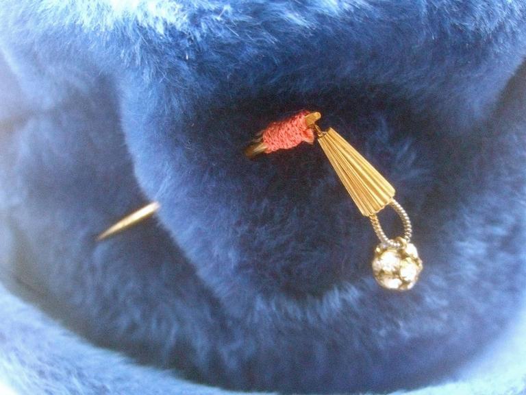 Schiaparelli Paris Fuzzy Blue Wool Hat ca 1960 For Sale 1