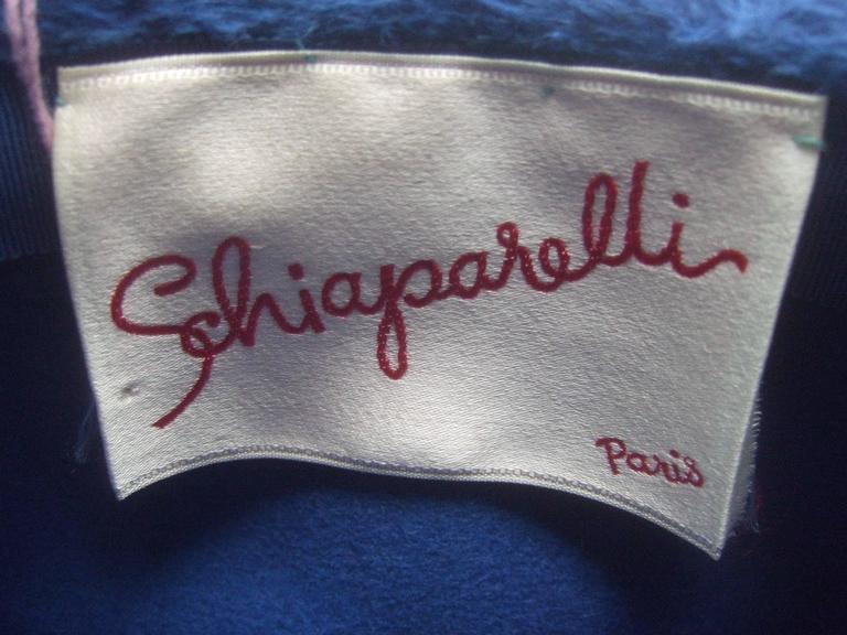 Schiaparelli Paris Fuzzy Blue Wool Hat ca 1960 For Sale 2