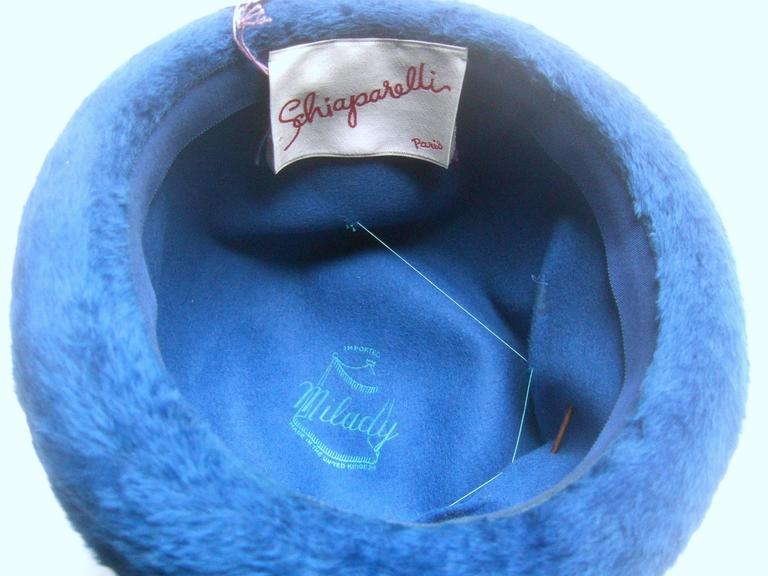 Schiaparelli Paris Fuzzy Blue Wool Hat ca 1960 For Sale 3