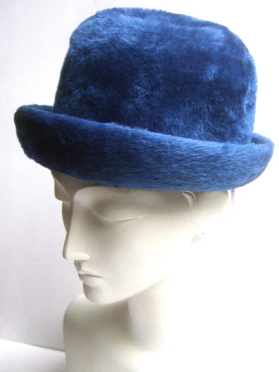 Schiaparelli Paris Fuzzy Blue Wool Hat ca 1960 For Sale 4