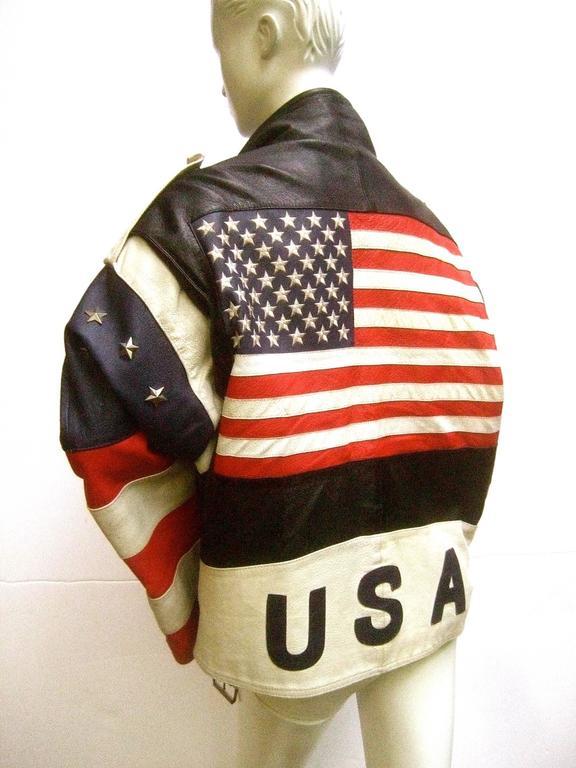 Men S Leather Patriotic American Flag Motorcycle Jacket Ca