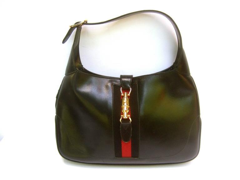 Gucci Italy Iconic Black Leather Piston Jackie O Handbag
