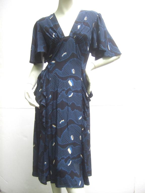 Black Ossie Clark Moss Crepe Dress with Celia Birtwell Fabric. Early 1970's. For Sale
