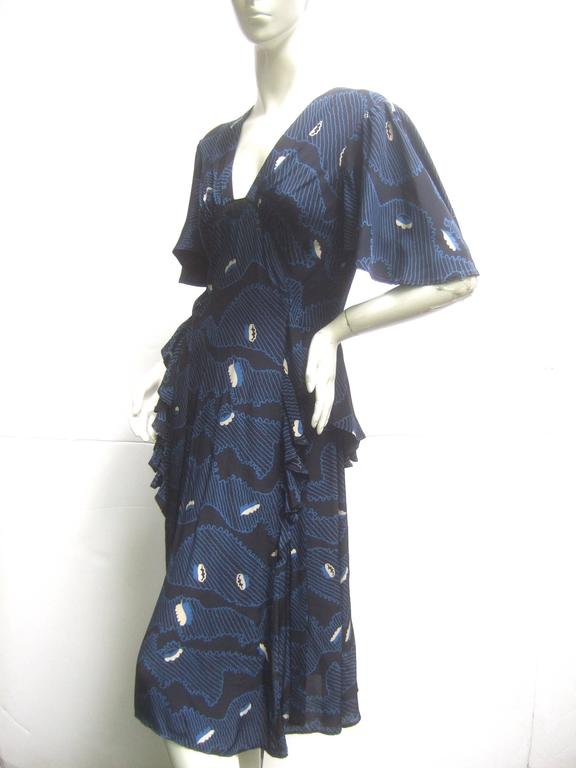 Women's Ossie Clark Moss Crepe Dress with Celia Birtwell Fabric. Early 1970's. For Sale
