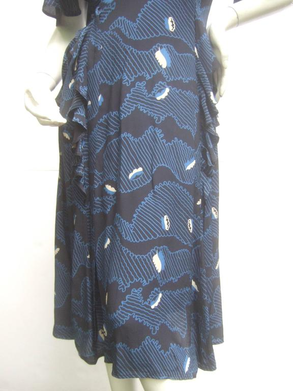 Ossie Clark Moss Crepe Dress with Celia Birtwell Fabric. Early 1970's. For Sale 2