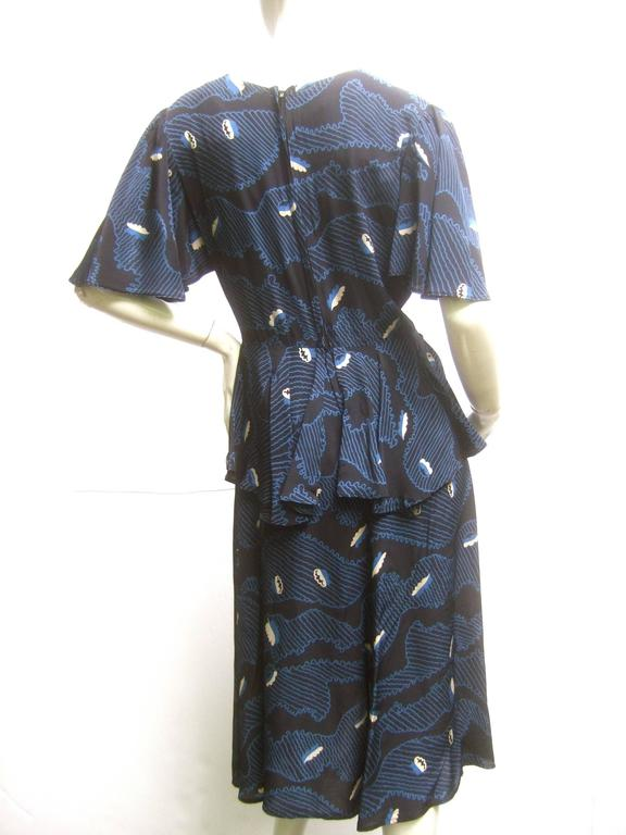 Ossie Clark Moss Crepe Dress with Celia Birtwell Fabric. Early 1970's. For Sale 3