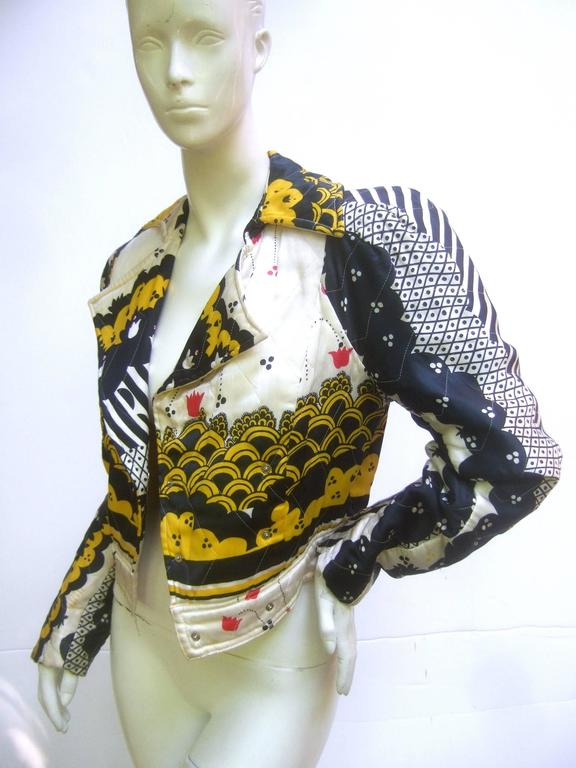 Important Ossie Clark Couture Satin Quilted Jacket. Late 1960's. 2