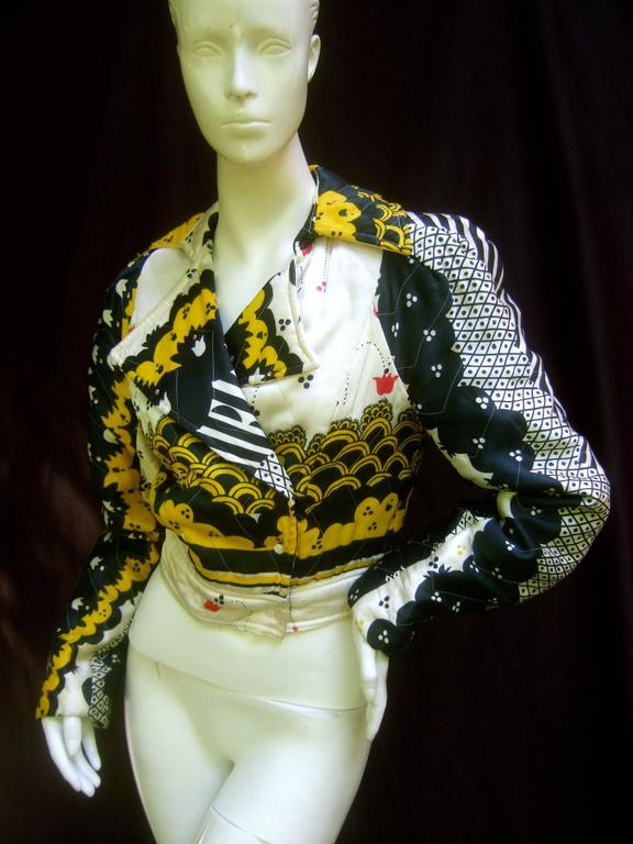 Important Ossie Clark Couture Satin Quilted Jacket. Late 1960's. 8