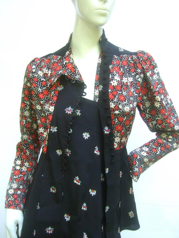 Ossie Clark Moss Crepe Dress and Jacket. Early 1970's. In Excellent Condition For Sale In Santa Barbara, CA
