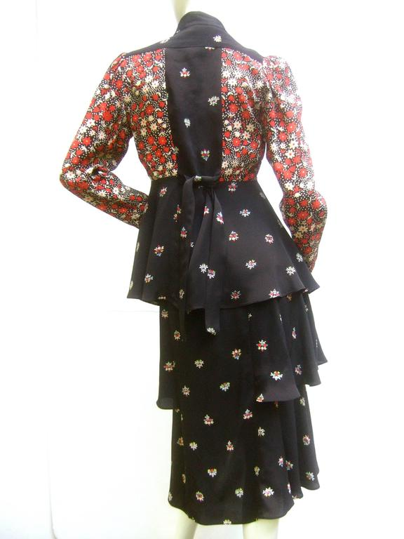 Ossie Clark Moss Crepe Dress and Jacket. Early 1970's. 8