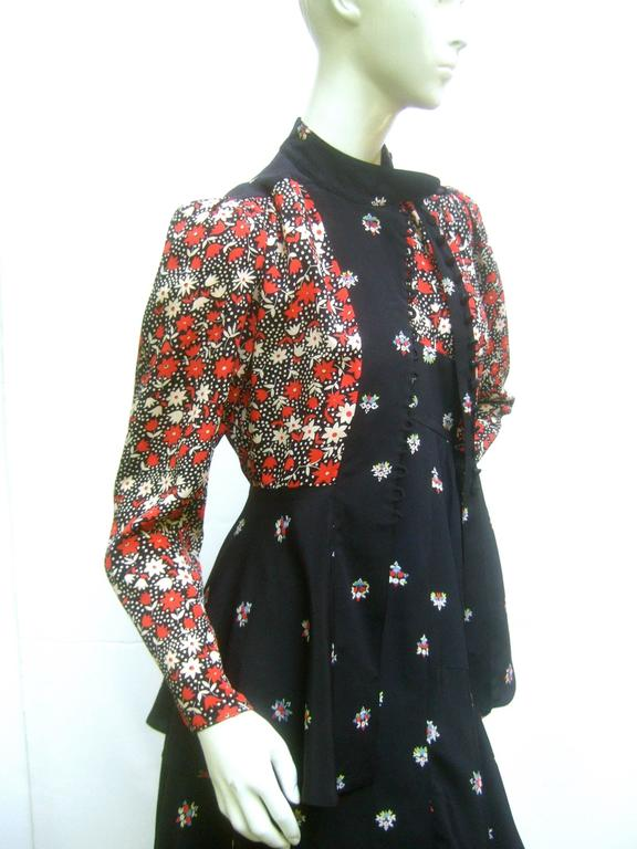 Black Ossie Clark Moss Crepe Dress and Jacket. Early 1970's. For Sale