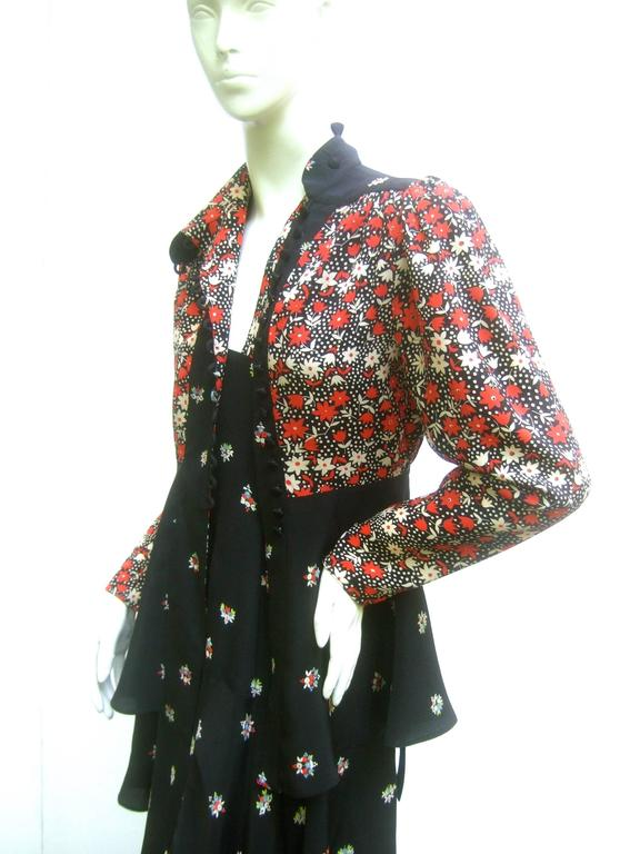 Ossie Clark Moss Crepe Dress and Jacket. Early 1970's. For Sale 1