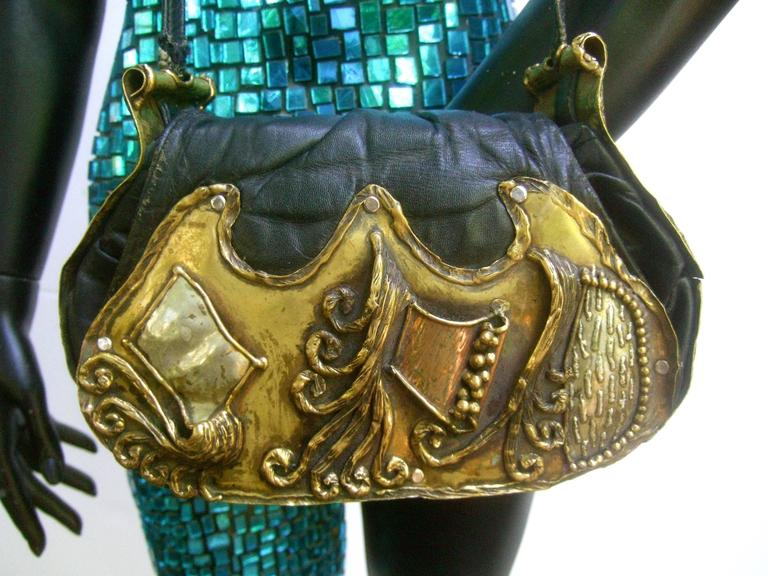 Avant Garde Brutalist Mixed Metal Artisan Handbag ca 1970s  In Good Condition For Sale In Santa Barbara, CA