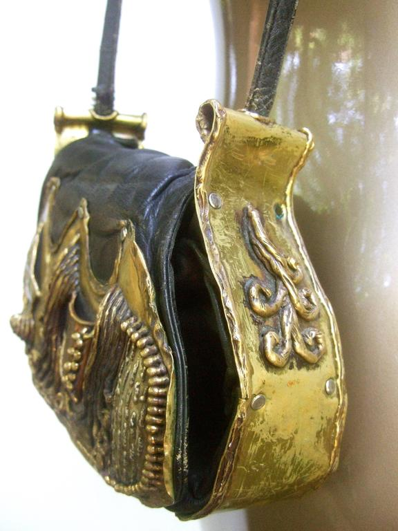 Avant Garde Brutalist Mixed Metal Artisan Handbag ca 1970s  For Sale 1