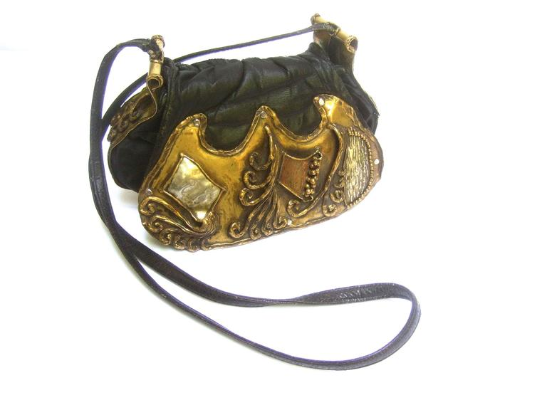 Avant Garde Brutalist Mixed Metal Artisan Handbag ca 1970s  For Sale 3