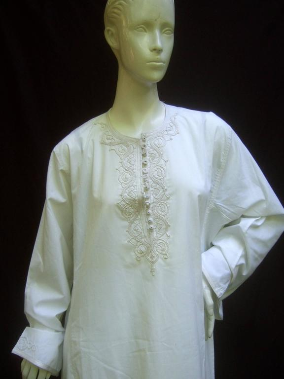 Crisp white egyptian breezy cotton applique embroidered for Crisp white cotton shirt