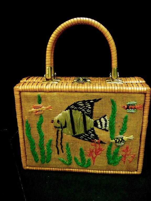 Whimsical Wicker Straw Embroidered Sea Life Handbag Ca