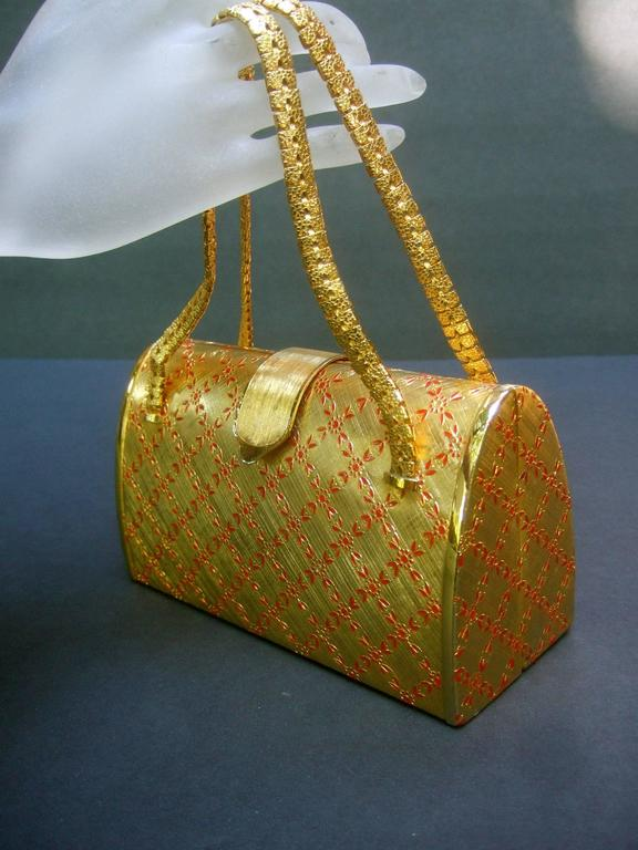 Saks Fifth Avenue Italian Opulent Gilt Metal Evening Bag ca 1970 For Sale 2