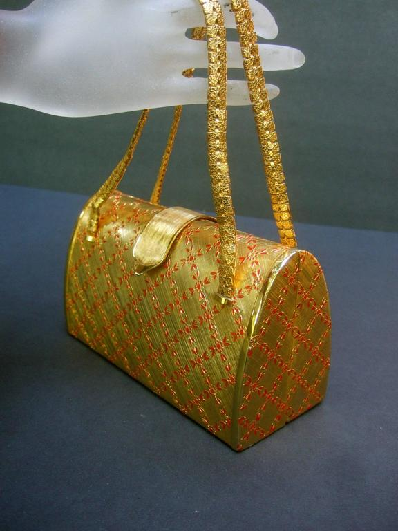 Brown Saks Fifth Avenue Italian Opulent Gilt Metal Evening Bag ca 1970 For Sale