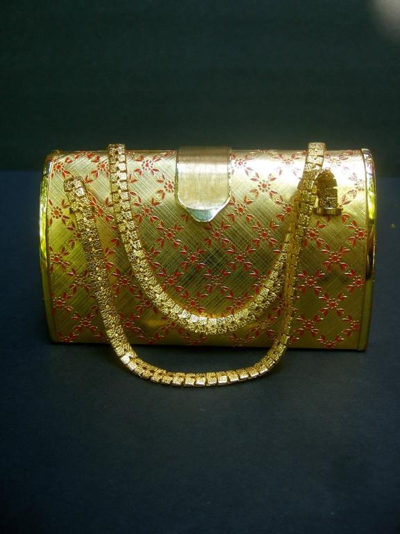 Saks Fifth Avenue Italian Opulent Gilt Metal Evening Bag ca 1970 For Sale 1