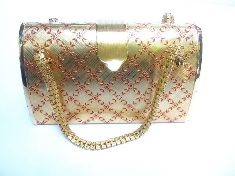 Saks Fifth Avenue Italian Opulent Gilt Metal Evening Bag ca 1970 In Excellent Condition For Sale In Santa Barbara, CA