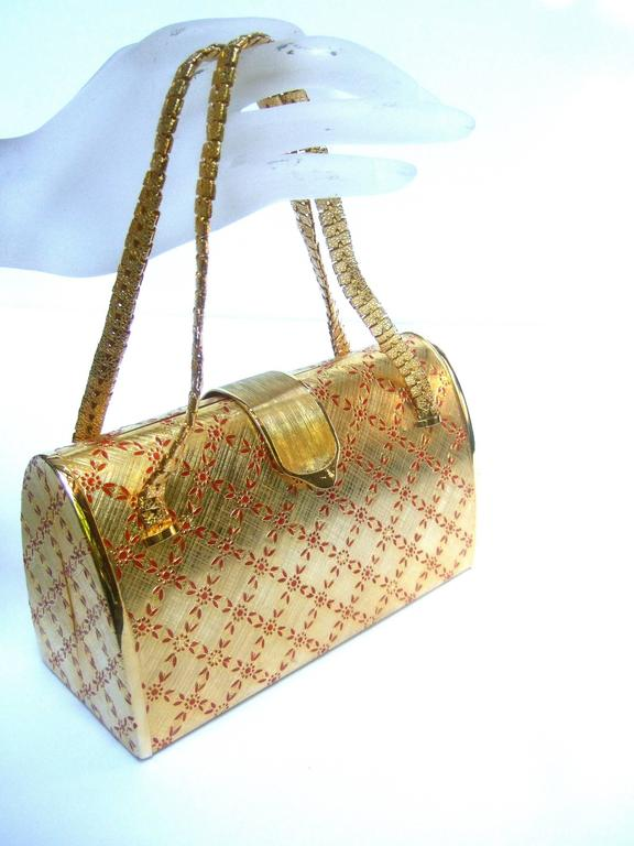 Saks Fifth Avenue Italian Opulent Gilt Metal Evening Bag ca 1970 For Sale 3
