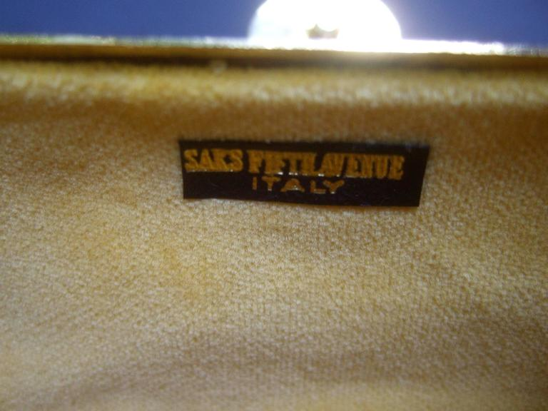 Saks Fifth Avenue Italian Opulent Gilt Metal Evening Bag ca 1970 For Sale 4
