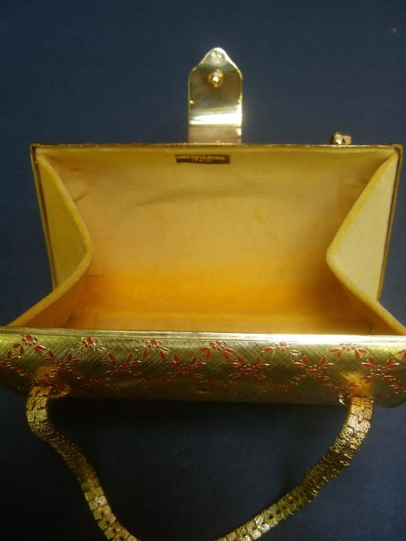Saks Fifth Avenue Italian Opulent Gilt Metal Evening Bag ca 1970 For Sale 5