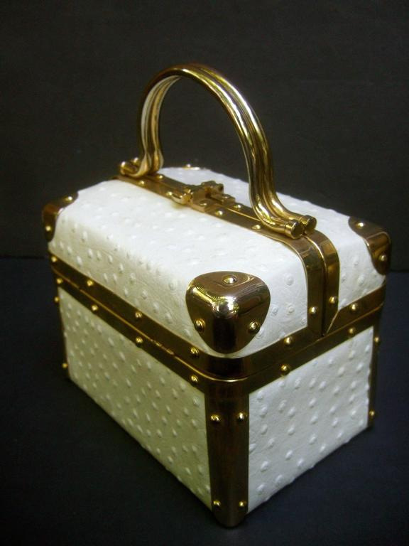 Borsa Bella Italian White Ostrich Leather Box Purse ca 1980s For Sale 1
