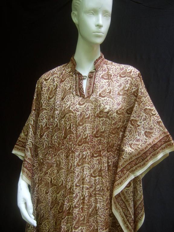 Romantic Indian Silk Caftan Butterfly Silhouette 1970 S