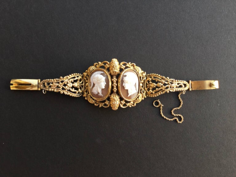 Amazing Double Cameo Style Victorian Pinchbeck Bracelet ...