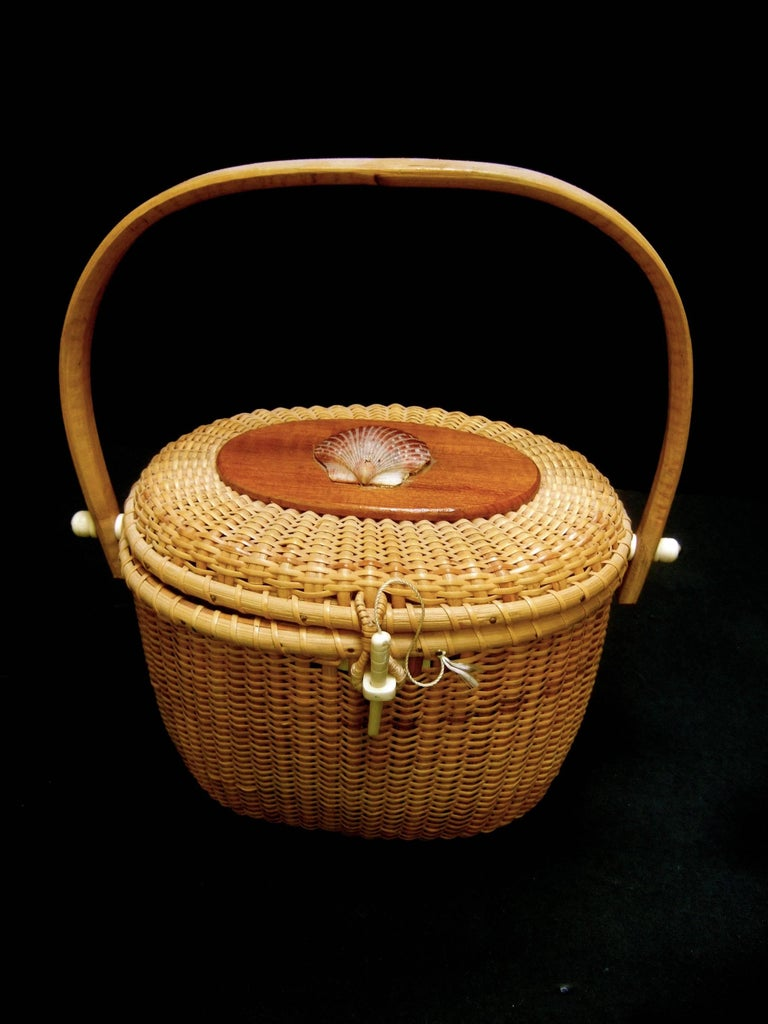 Nantucket Style Woven Wicker Basket Handbag At 1stdibs