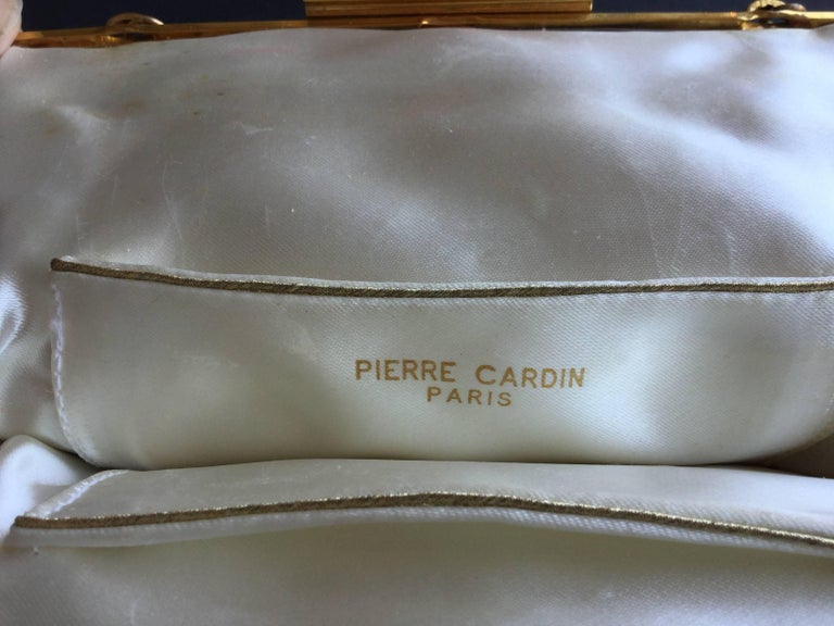 Pierre Cardin Silver and Gold Metal Patent Leather Bag. Space Age. 1960's.  For Sale 3