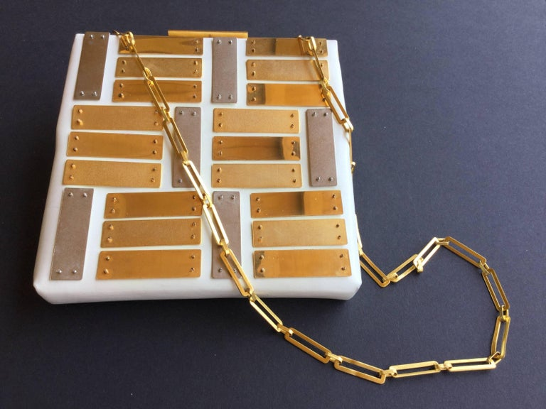 Pierre Cardin Silver and Gold Metal Patent Leather Bag. Space Age. 1960's.  For Sale 4