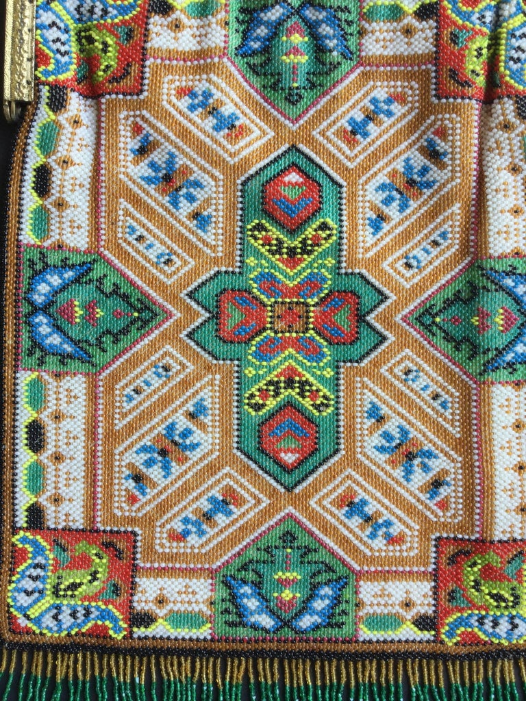 Large Victorian Beaded Bag Rare Oriental Carpet Design. 1880's. 2