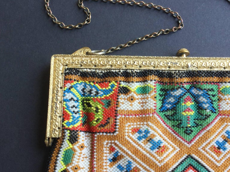 Large Victorian Beaded Bag Rare Oriental Carpet Design. 1880's. 4