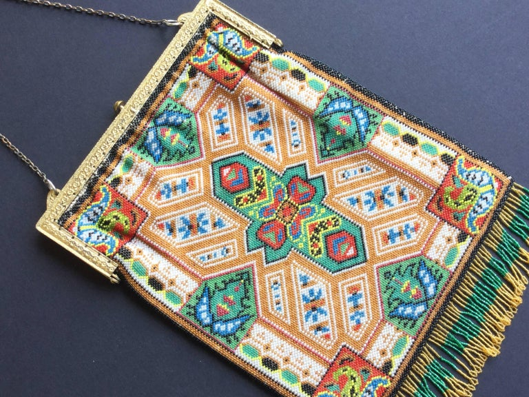 Large Victorian Beaded Bag Rare Oriental Carpet Design. 1880's. 5