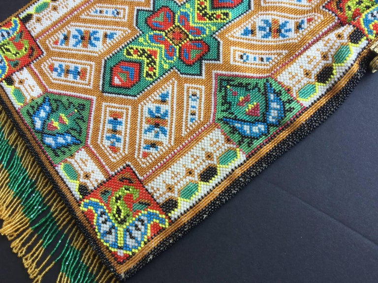 Large Victorian Beaded Bag Rare Oriental Carpet Design. 1880's. 7