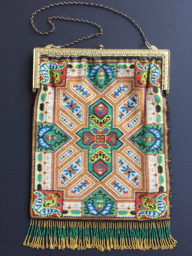 Large Victorian Beaded Bag Rare Oriental Carpet Design. 1880's. 9