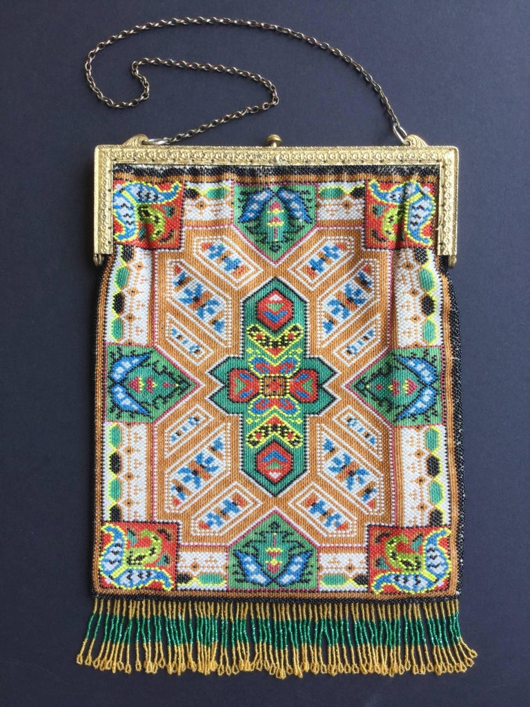 Large Victorian Beaded Bag Rare Oriental Carpet Design. 1880's. 10