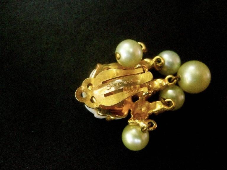 Schiaparelli Dangling Pearl Aurora Borealis Earrings c 1950s For Sale 5