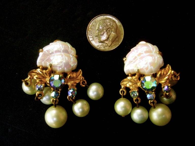 Schiaparelli Dangling Pearl Aurora Borealis Earrings c 1950s For Sale 4